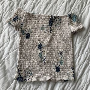 Streetwear society off shoulder floral cropped tee